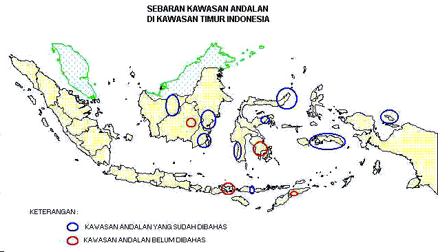 Map of Indonesia: Integrated Economic Area Development in East Indonesia Region